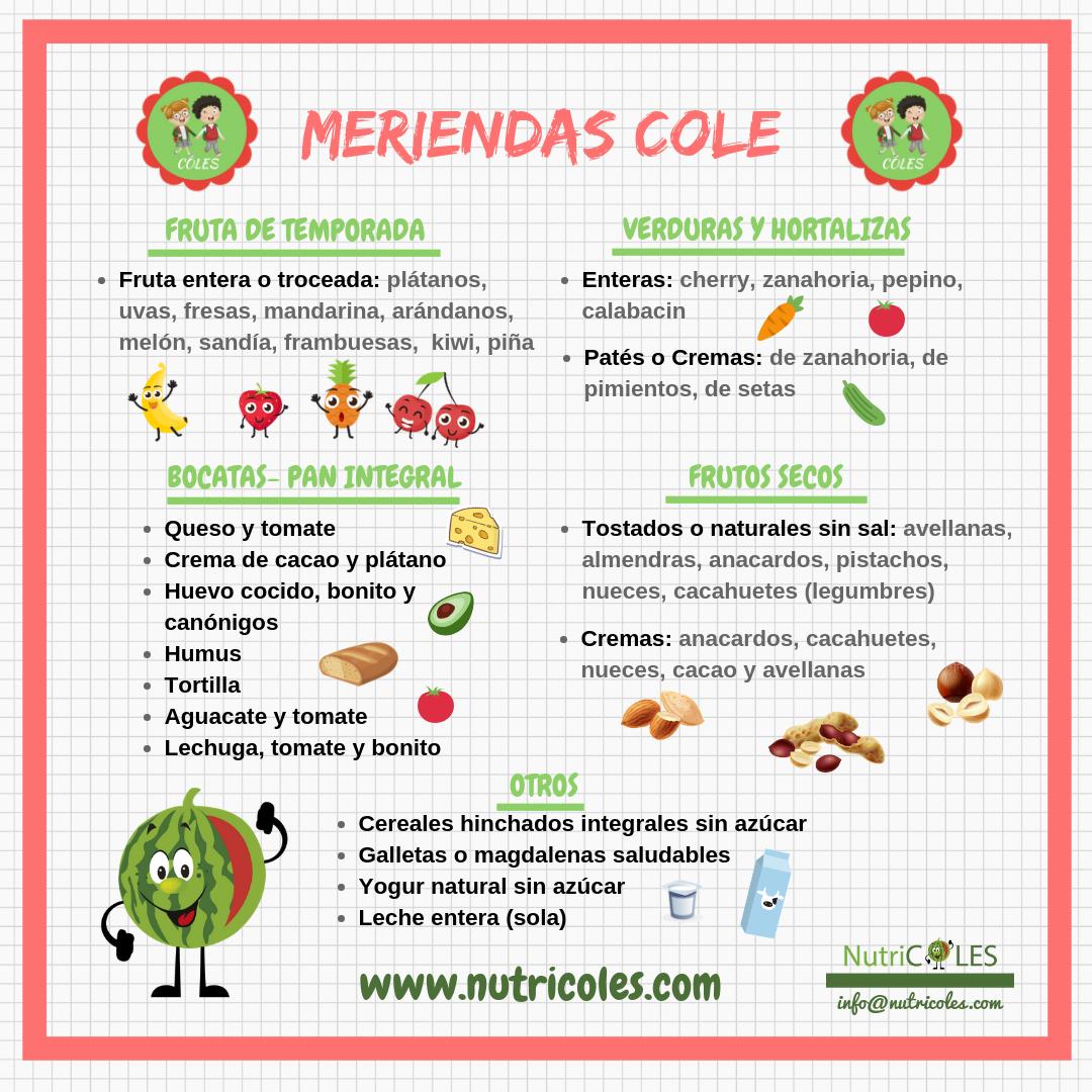 Infografía Nutricoles Meriendas cole